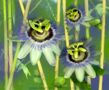 Passion Flowers with Bamboo