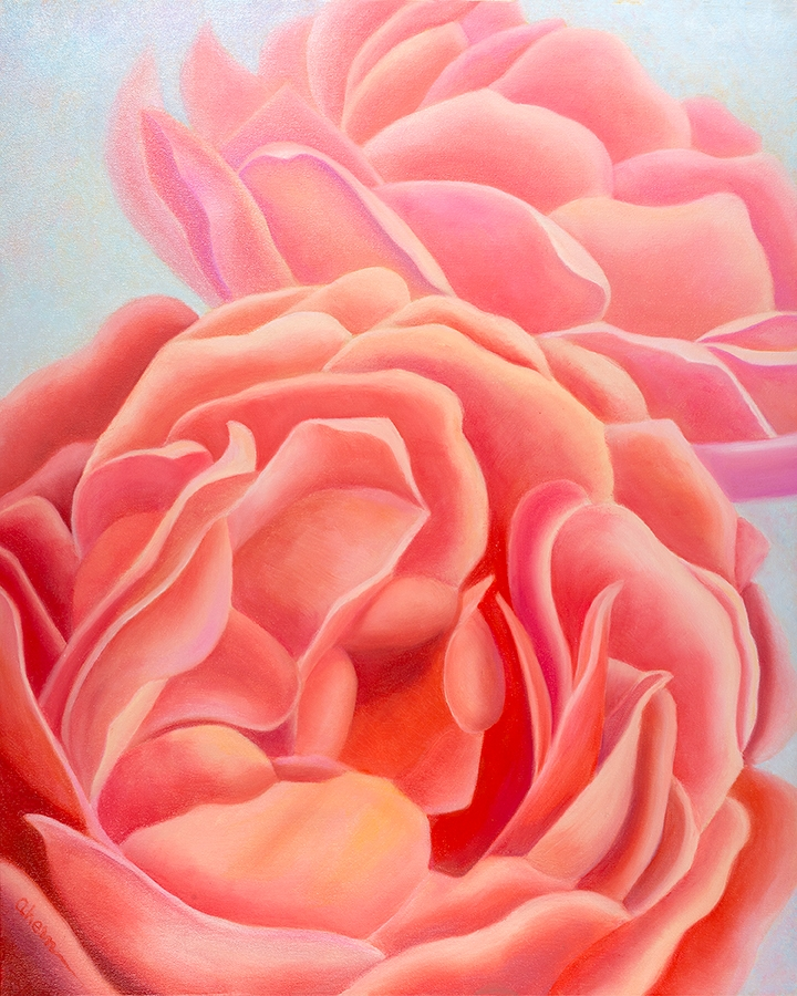 """We Are Sisters - Coral Roses 30x24\"""" GW Oil on Canvas. $2,500."""
