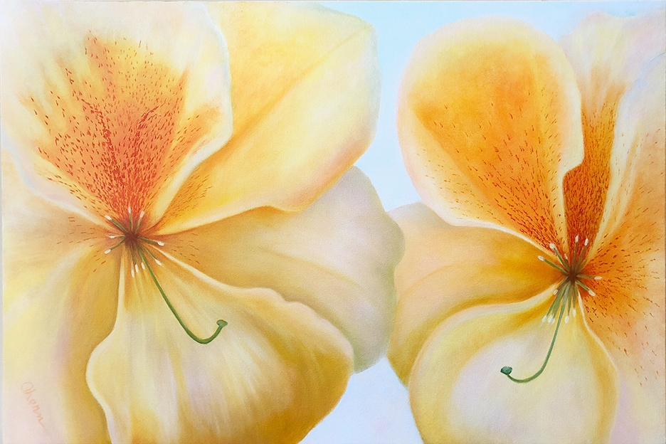 "Together Again - Peach Freckles 24x36\"" GW Oil on Canvas. $3,000."