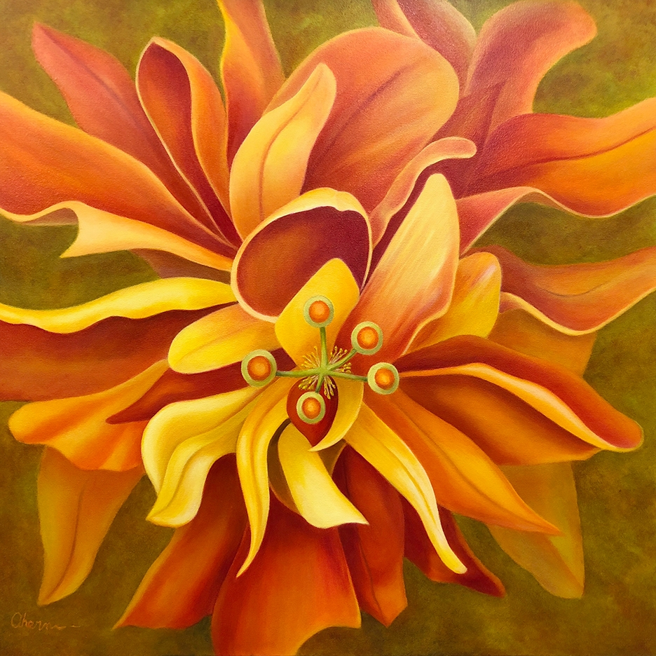 """Pay Attention Here - Orange Hibiscus 36x36\"""" GW Oil on Canvas. $5,000."""